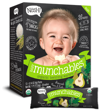 Nosh Baby Munchables Organic Rice Teething Wafers, Broccoli Pear & Kale