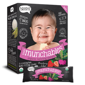 Nosh Baby Strawberry and Beet Munchables Organic Rice, Teething Wafers