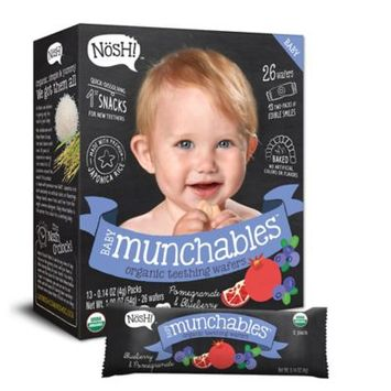 Nosh Baby Munchables Organic Teething Wafers, Blueberry & Pomegranate