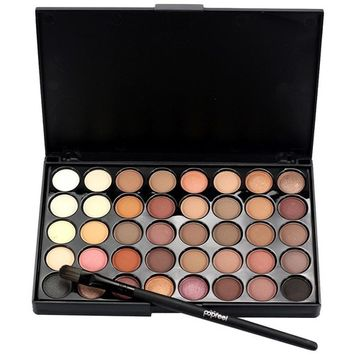 Exteren 40 Colors Natural Eye Shadow Makeup Cosmetic Pearl Metallic Smoky Eyeshadow Palette+Brush Set
