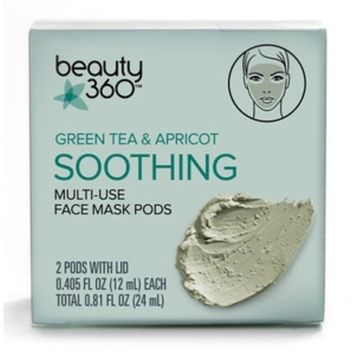 Beauty 360 Green Tea & Apricot Soothing Multi-Use Face Mask Pods, 2CT