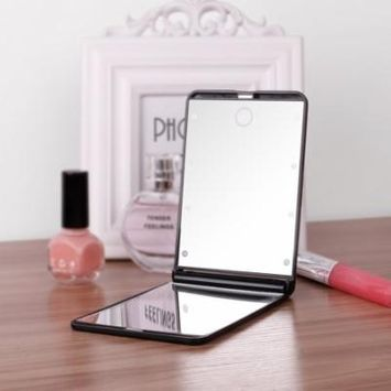 Lighted Makeup Mirror, DUcare Portable Vanity Mirror Led Lighted Lights 8 1X & 2X Magnification Hand Mirror 180 Degree Free Rotation Cosmetic Travel Mirror
