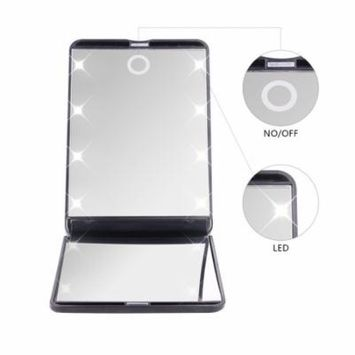 DUcare Led Mirror Lighted Lights 8 1X & 2X Magnification Hand Mirror 180 Degree Free Rotation Cosmetic Travel Portable Vanity Mirror