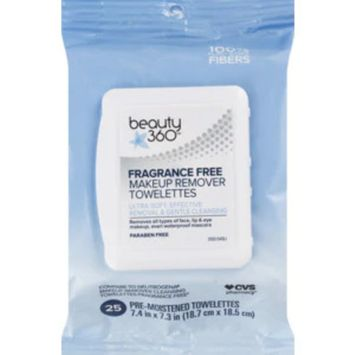 Beauty 360 Fragrance-Free Makeup Remover Towelettes, 25/Pack