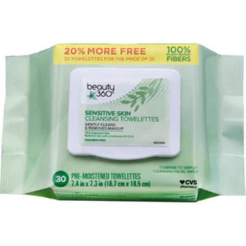 Beauty 360 Sensitive Skin Makeup Remover Wipes, 30/Pack