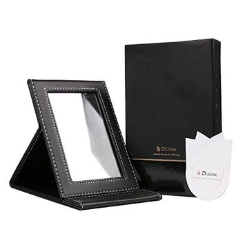 DUcare Folding Tabletop Compact Travel Mirror with Adjustable Stand,Small