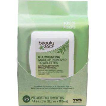 Beauty 360 Illuminating Makeup Remover Wipes, 25/Pack