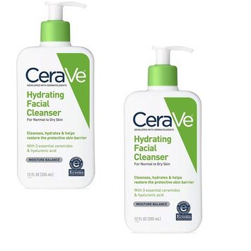 CeraVe Hydrating Facial Cleanser, Daily Face Wash for Normal to Dry Skin, 12 oz - 2 Pack