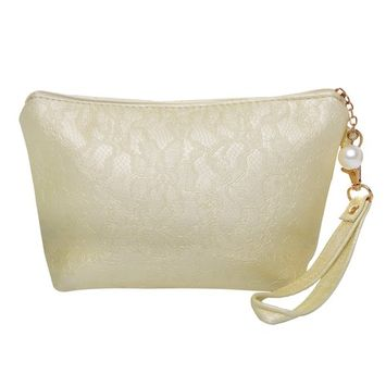 Bestrice New PU Soft Spacious Trapezoid Cosmetic Bag Portable Ladies Wristlet Handbag / Cell Phone Bag / Purse for Travel - Yellow