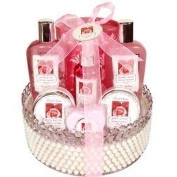 Morgan Avery Bath and Body Pearl Basket Gift Set, Rose