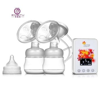 ZIMEITU RH288 Double Intelligent Electric Frequency Conversion Massage Noise Reduction Backflow Protection Large LCD Display BPA Free Breast Pump