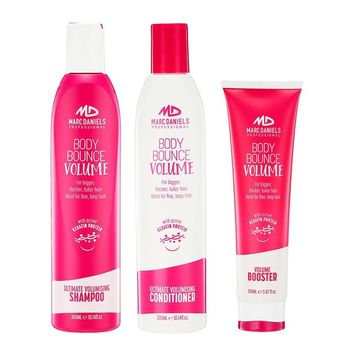 Keratin Infused Volumizing Shampoo and Conditioner Set with Volume Thickening Hair Booster. Get Instantly Thicker Bigger Fuller Hair. For Women & Men by Marc Daniels Professional