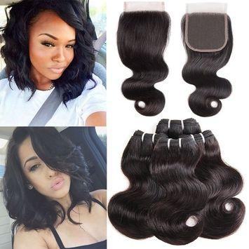 Molefi Body Wave Hair 4 Bundles with Closure Brazilian Human Hair Weave Bundles with 4×4 Free Part Lace Closure 8A Unprocessed Short Human Hair Extensions 50g/pc (8 8 8 8 +8
