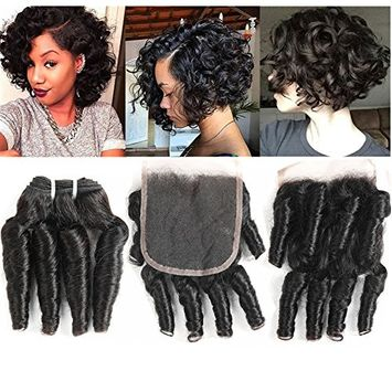 Molefi Bouncy Curl Weave Funmi Hair 4 Bundles With Closure Spiral Curly Weave Bundles With 4x4 Lace Closure 100% Unprocessed Virgin Human Hair Extensions 50g/pc Natural Black (8 8 8 8 +8 closure)