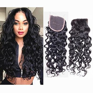 Molefi Hair Water Wave Free Part Lace Closure 100% Brazilian Virgin Human Hair Frontal Closure 4x4 Bleached Knots (10