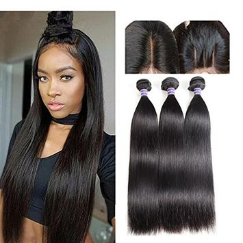 Molefi Peruvian Straight Hair 3 Bundles with Closure 8A Virgin Straight Hair Bundles with 4×4 Free Part Lace Closure 100% Unprocessed Human Hair Extensions (20