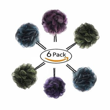 Angel mall-Loofah Bath and Shower Sponge 6-Pack (65g/pcs),Large Mesh Pouf Exfoliating Bath sponge Body Scrubber Puff to Silky Skin & Beauty (Energetic color)