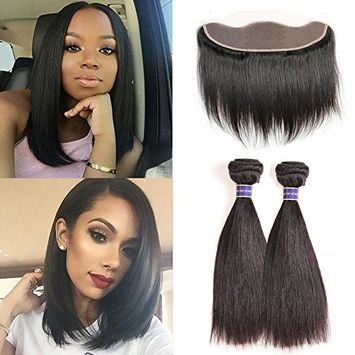 Molefi Straight Hair Bundles with Frontal Lace Closure 8A Peruvian Straight Hair 13×4 Ear to Ear Lace Frontal with Bundles 100% Unprocessed Human Hair Extensions (10