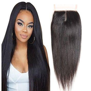 Molefi Brazilian Straight Hair Middle Part Lace Closure 4×4 inch 8A Unprocessed Brazilian Virgin Straight Human Hair Top Lace Closure Bleached Knots Natural Color