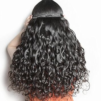 Molefi Brazilian Water Wave Human Hair Bundles Water Wave 4 Bundles Wet and Wavy Human Hair Bundles Deal 8A Grade Unprocessed Virgin Human Hair Extension Weave Natural Color 50g/pc (10