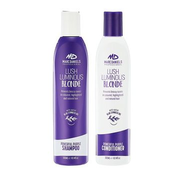 Powerful Purple Shampoo & Conditioner Set, Sulfate Free - Tones, Prevents, Balances Brassiness in Blonde, Color Treated, Silver, Grey Hair - Paraben Free, Vegan Friendly by MARC DANIELS Professional