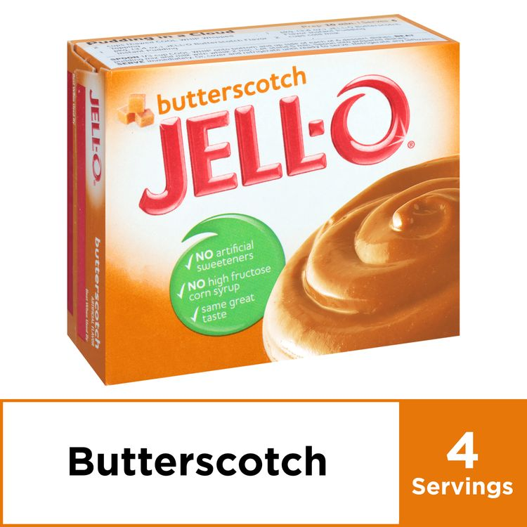 Jell-O Butterscotch Instant Pudding Mix, 3.4 oz Box