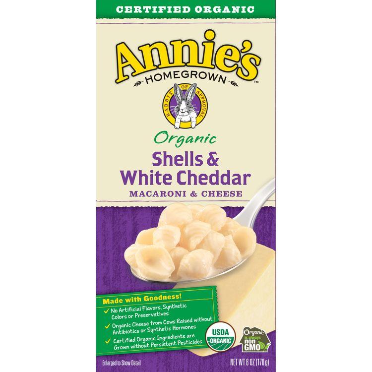 Annie's Organic Macaroni & Cheese, Shells & White Cheddar, 6 oz. Box