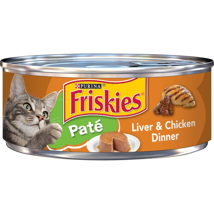 Purina Friskies Pate Wet Cat Food, Liver & Chicken Dinner - 5.5 oz. Can