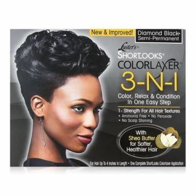 Lusters Shortlooks 3-N-1 Semi Permanent Hair Color Relaxer Kit, Diamond Black, 1 Ea, 2 Pack