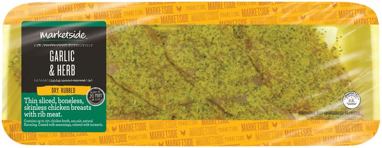 Marketside™ Garlic & Herb Dry Rubbed Thin Sliced, Boneless, Skinless Chicken Breasts with Rib Meat