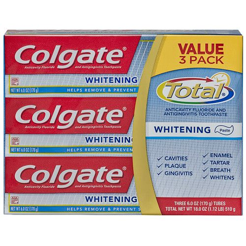 Colgate Total Whitening Paste Toothpaste, 6.0 Ounce (Pack of 3)