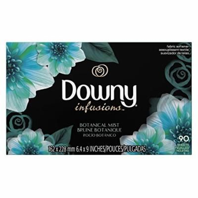 Downy Infusions Botanical Mist Fabric Softener Sheets, 90 Count (Pack of 9)