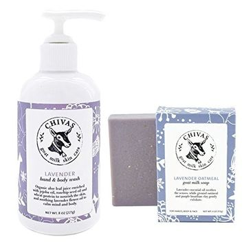 Chivas Goat Milk Skin Care Hand & Body Wash with Bar Soap, 2-Pack, Lavender
