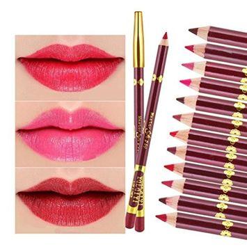 WensLTD 12 Pcs 12 Colors Professional Lipliner Makeup Waterproof Lip Liner Pencil