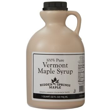 Hidden Springs White Label Vermont Maple Syrup, Amber Rich, 32 Ounce [Amber Rich]