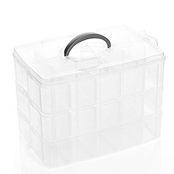 Healthcom 30 Spaces Cosmetic Display Cases Cosmetic Jewelry Makeup Orangizer Clear Nail Polish Organizer Holder