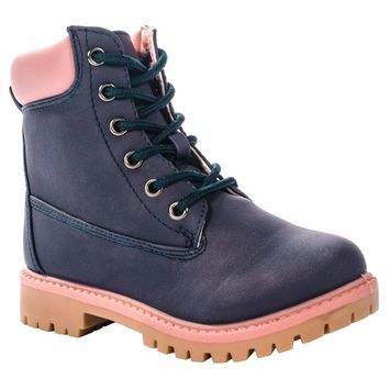 Anna - Anna Footwear Dallas 20K Timber Tonal Work Low Boots PInk [name: shoe_size value: shoe_size-1]