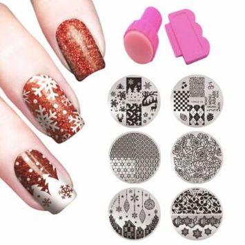 Kapmore Nail Stamping Plates Set 6Pcs Nail Art Sticker Snow Flake Flowers Nail Decals with Nail Art Stamp & Scraper for Women Ladies Girls