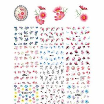 50 Sheets Nail Stickers Decorative Flowers Nail Art Stencils Nail Decals Nail Decor Stickers for Women