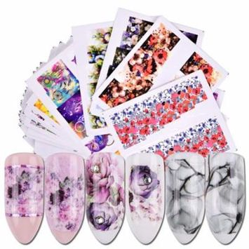 40 Sheets Nail Stickers Flowers Decorative Nail Art Stickers Nail Art Decals for Women Girls