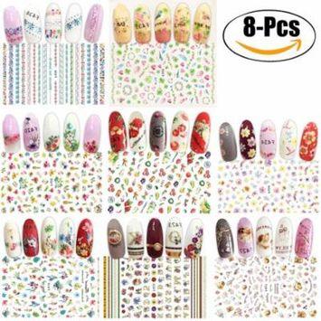 8 Sheets Nail Stickers 3D Self Adhesive Nail Art Stickers Nail Decals Nail Art Decoration for Women