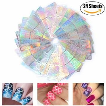 24 Sheets Nail Stickers 3D Hollow Self Adhesive Full Nail Art Decals Manicure Stickers for Women