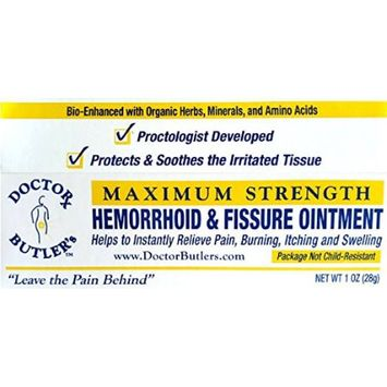 Doctor Butlers Hemorrhoid Fissure Ointment (FDA Approved Maximum Strength Pain Relief with Organi