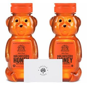 Nature Nate's 100% Pure Raw & Unfiltered Honey (2 Pack) in Dependable Packaging to Prevent Breakage with LP card - LP Bundle (Original, 12 Ounce Bear (Set of 2))