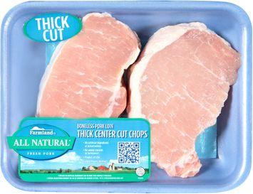 Farmland® Boneless Pork Loin Thick Center Cut Chops Tray