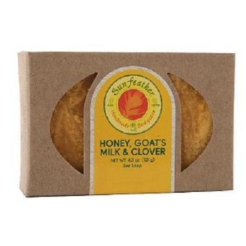 Sunfeather Honey, Goat's Milk & CloverBar Soap, Honey & Clover, 4.3 oz