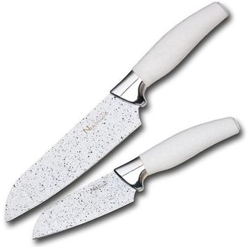 New England Cutlery 2 Piece Santoku Knife Set Color: White