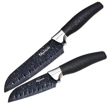 New England Cutlery 2 Piece Santoku Knife Set Color: Black