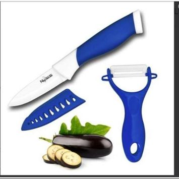 New England Cutlery 3 Piece Ceramic Paring and Peeler Set, Blue