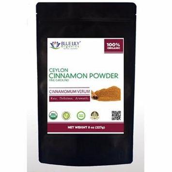 Blue Lily Organics Ceylon Cinnamon Powder - 8 Oz X 2 Pack - Certified Organic